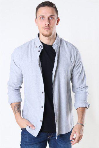 Edin LS Flannel Twill Skjorta Medium Grey Melange