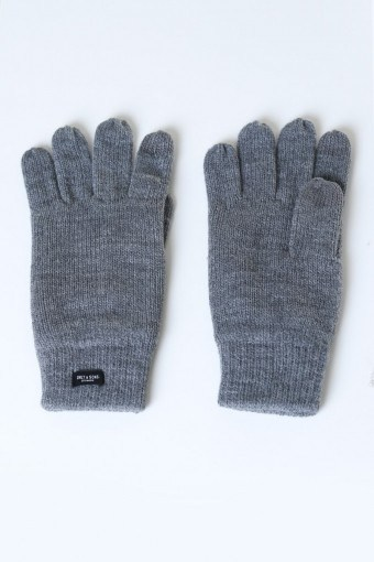 Clas Fingerforet Stickahandske Medium Grey Melange