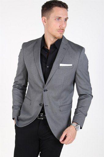 Slim-MyloLogan Blazer Dark Grey StructKlockae