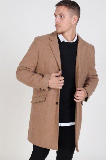 Julian Solid Wool Uldfrakke Camel