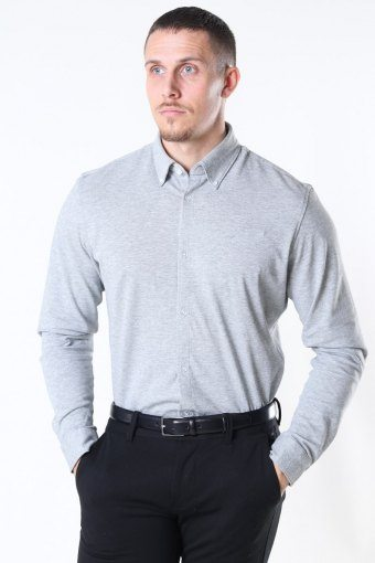 Slim Oliver Knit Flex Skjorta LS Medium Grey Melange