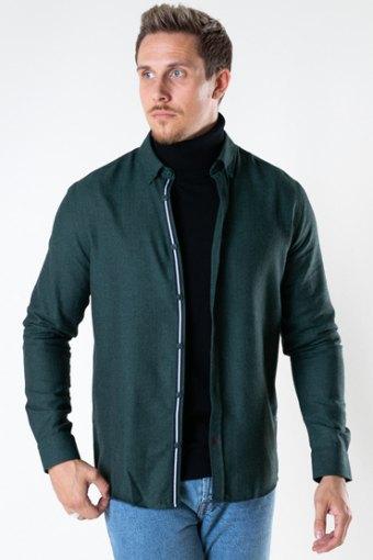 Johan HerRingabone flannel shirt Bottle Green