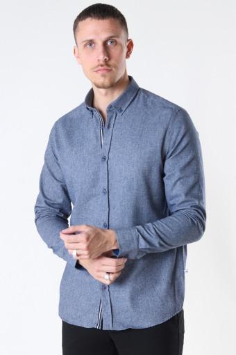 Johan HerRingabone flannel shirt Navy