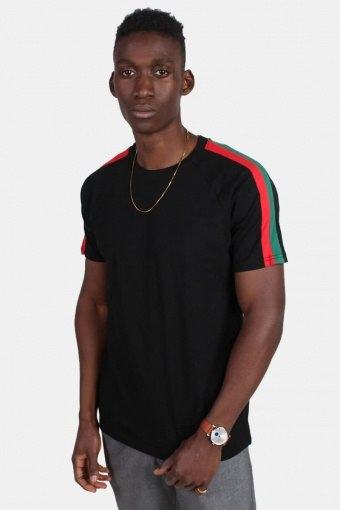 TB2059 Stripe Shoulder Raglan T-shirt Black/Firered/Green