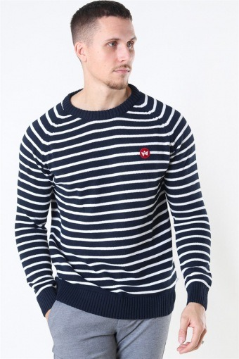 Liam Recycled Cotton Striped Sticka Navy/White