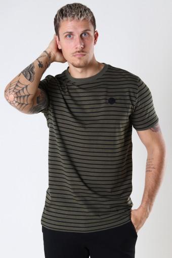 Timmi Organic/Recycled striped tee Army / Black
