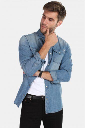 Sheridan Skjorta Medium Blue Denim