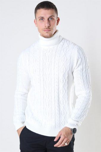 Rigge 3 Cable Roll Neck Sticka Cloud Dancer