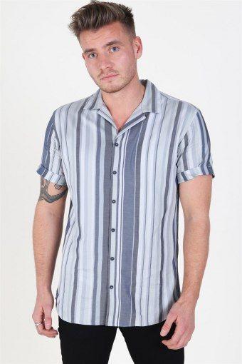 Jack & Jones Robert Stripe Skjorta S/S Navy Blazer