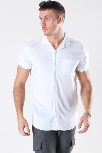 Silo Solid Viscose Skjorta White