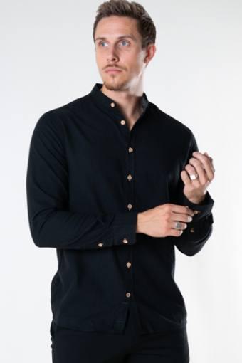 Dean Diego Cotton henley shirt Black