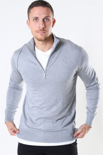 Argento Half Zip Sticka Light Grey Mix