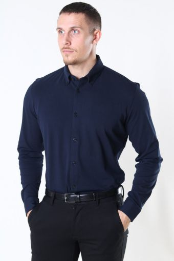 Slim Oliver Knit Flex Skjorta LS Dark Sapphire