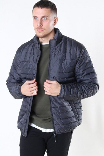 Paul Quilted Highneck Jacka Grey Pinstripe