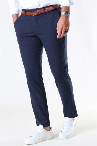 Slim-Carlo Cotflex Pants Dark Navy/HerRingabone