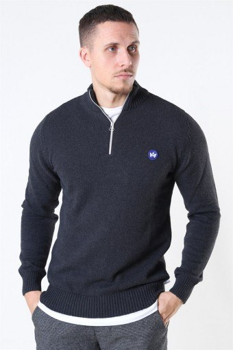 Liam Half Zip Recycle Sticka Charcoal