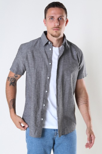 SLHREGNEW-LINEN SHIRT SS CLASSIC W Black Olive