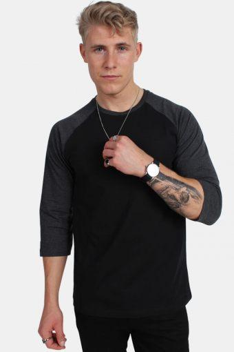 Klockaban Classics TB366 Contrast 3/4 Sleeve Raglan T-shirt Blk/Cha