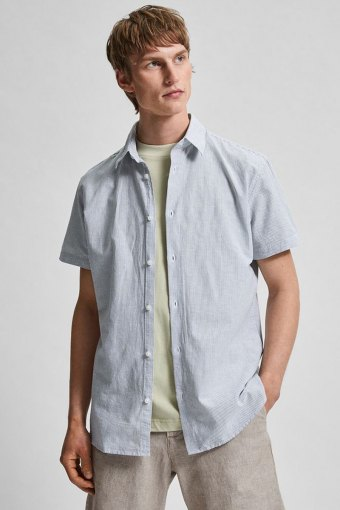 SLHSLIMNEW-LINEN SHIRT SS CLASSIC W Sea Spray