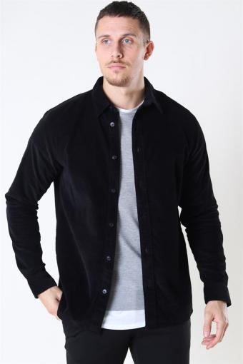 Reg Henley Fløjls Skjorta LS Black