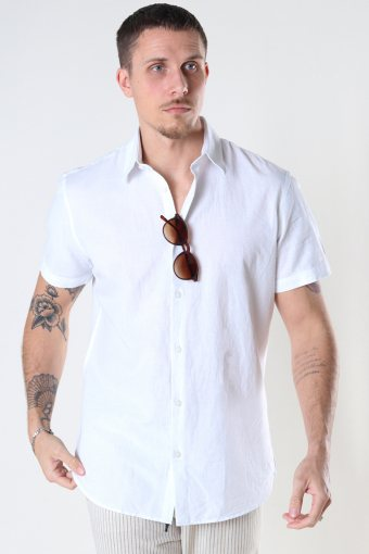 SLHSLIMNEW-LINEN SHIRT SS CLASSIC W White