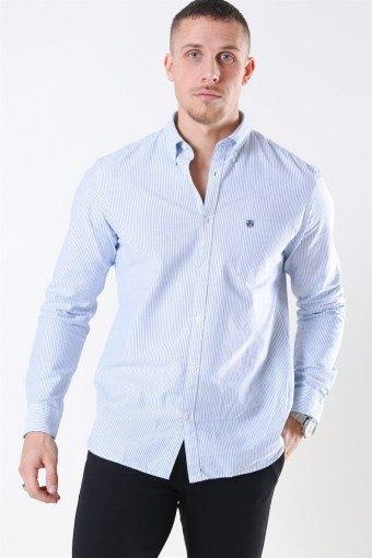Collect Skjorta White/Light Blue Stripe
