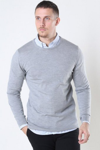 Clean Cut Merino Wool Crew Sticka Light Grey Mel