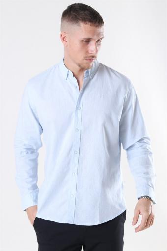 Cotton Linen Skjorta Sky Blue