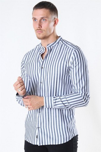 Edwin Life LS Stripe Mandarine Skjorta Dark Navy