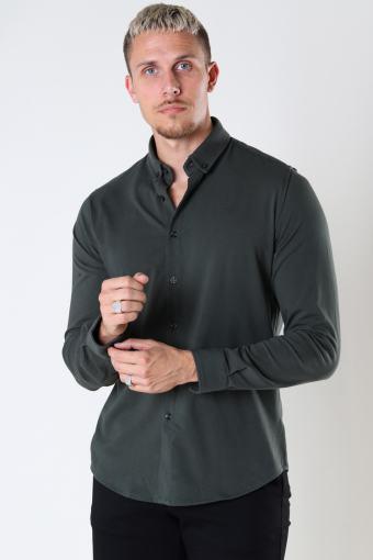 Hudson Stretch Shirt L/S Bottle Green