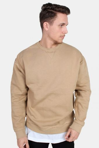 Klockaban Classics Oversized Open Edge Crew Sweat Warm Sand