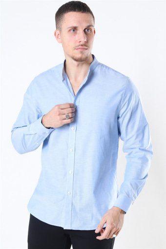Oxford Stretch Mao L/S Skjorta Light Blue