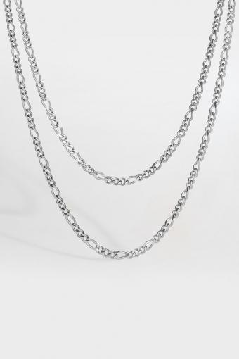 Double Antique Halsband Sølvtonet