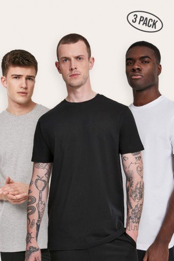 Klockaban Classics Basic Tee 3-Pack Black/White/Grey