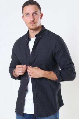 Classic Melange Skjorta Dark Grey Melange