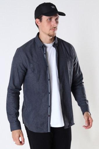 Johan HerRingabone flannel shirt Black