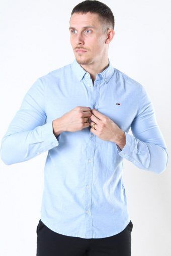 Tommy Jeans Slim Stretch Oxford Skjorta Perfume Blue