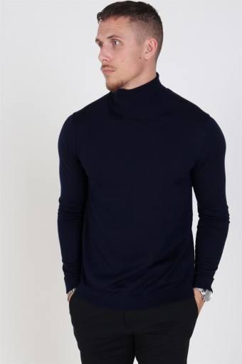 Merino Turtleneck Strik Navy Blazer