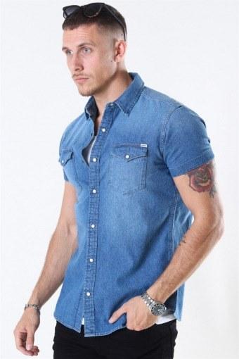 Sheridan Skjorta S/S Medium Blue Denim