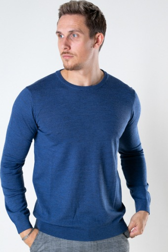 Merino Wool Crew Blue Melangé