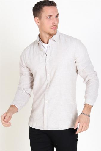 Caiden LS Solid Linen Skjorta Chinchilla