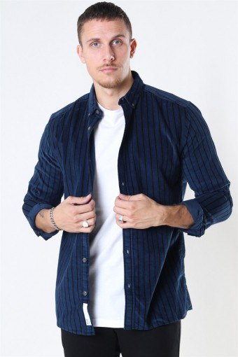 Edward Striped CordKlockaoy Skjorte Dress Blues