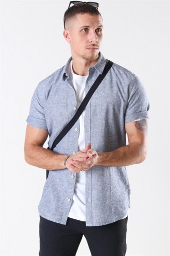 Caiden S/S Linen Skjorta Dress Blues